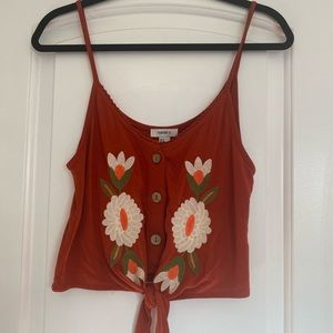 Embroidered tie front tank